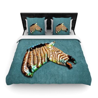 Laughing Zebra by Ancello Featherweight Duvet Cover Size: Queen, Fabric: Woven Polyester