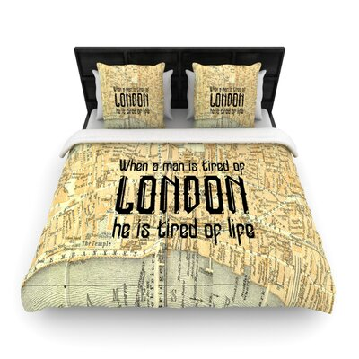 London Type by Alison Coxon Woven Duvet Cover Size: King/California King