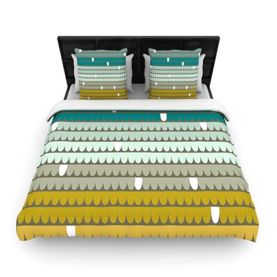 Teal Scallops by Pellerina Woven Duvet Cover Size: Twin