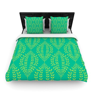 Laurel Leaf Green by Anneline Sophia Woven Duvet Cover Size: Queen