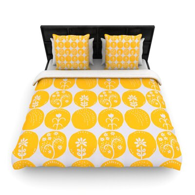 Dotty Papercut Yellow by Anneline Sophia Woven Duvet Cover Size: Queen