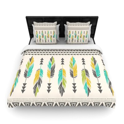 Painted Feathers Cream by Amanda Lane Woven Duvet Cover Size: Queen