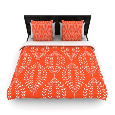 Laurel Leaf Orange by Anneline Sophia Woven Duvet Cover Size: Queen