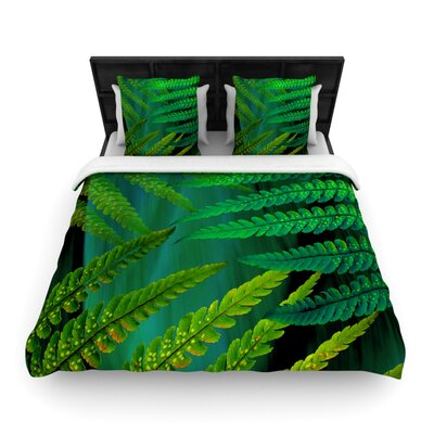 Forest Fern by Alison Coxon Featherweight Duvet Cover Size: Queen, Color: Green, Fabric: Woven Polyester