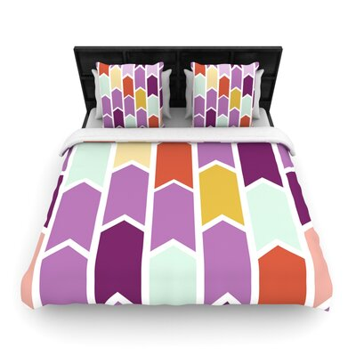 Pellerina Design Orchid Geometric Chevron Purple Arrows Featherweight Duvet Cover Size: King/California King, Fabric: Woven Polyester