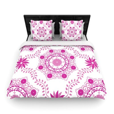 Lets Dance Fuchsia by Anneline Sophia Woven Duvet Cover Size: Queen