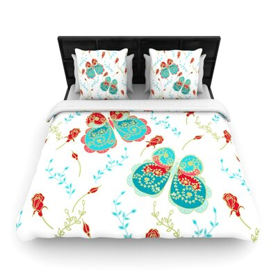 Leafy Butterflies Red by Anneline Sophia Woven Duvet Cover Size: Queen