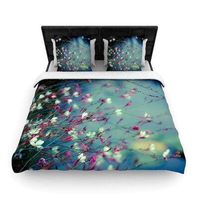 Monets Dream by Ann Barnes Dark Flower Featherweight Duvet Cover Size: Queen, Fabric: Woven Polyester