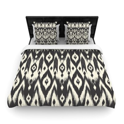 Black Cream Tribal Ikat by Amanda Lane Woven Duvet Cover Size: Queen