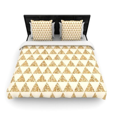 Glitter Triangles in Gold by Nika Martinez Woven Duvet Cover Size: Queen