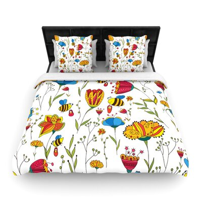 Bees by Alisa Drukman Featherweight Duvet Cover Size: Twin, Fabric: Woven Polyester