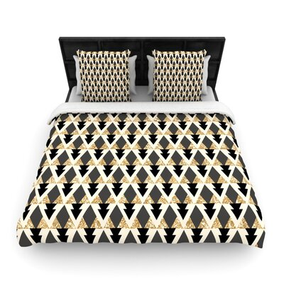 Glitter Triangles in Gold and Black by Nika Martinez Woven Duvet Cover Size: Queen