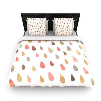 Opal Drops by Daisy Beatrice Woven Duvet Cover Color: Peach, Size: Queen