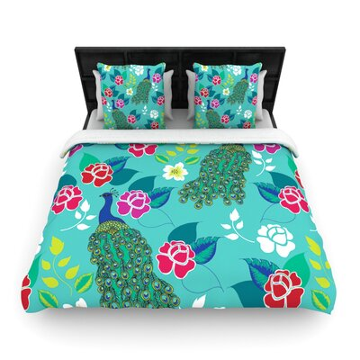 Mexican Peacock by Anneline Sophia Woven Duvet Cover Size: Queen