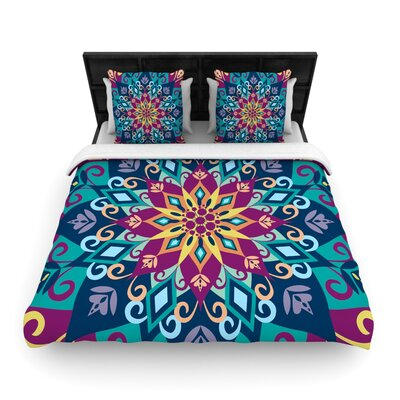Blooming Mandala by Amanda Lane Featherweight Duvet Cover Size: King/California King, Fabric: Woven Polyester