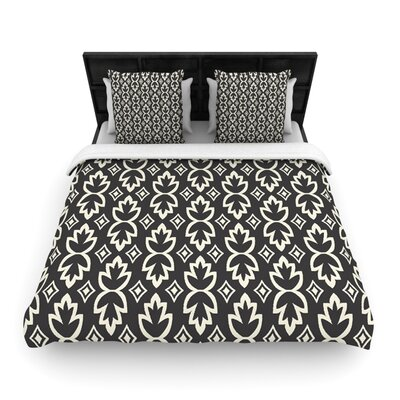 Black Cream Bohemia by Amanda Lane Woven Duvet Cover Size: Queen