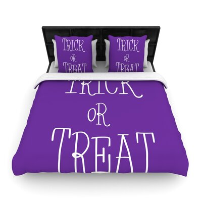 Trick or Treat Woven Duvet Cover Size: Twin, Color: White