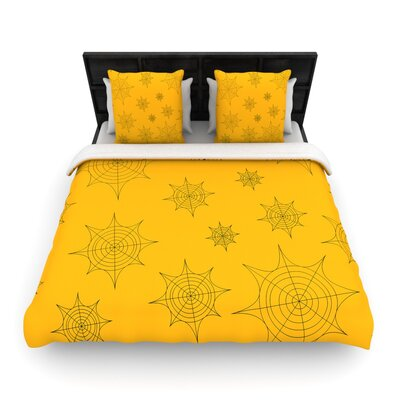 Mini Webs Orange Woven Duvet Cover Size: Queen