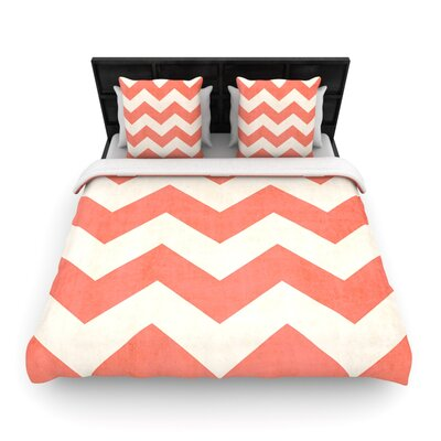Vintage Coral by Ann Barnes Woven Duvet Cover Size: King/California King