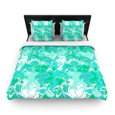 Marbleized In Seafoam by Anneline Sophia Woven Duvet Cover Size: Twin