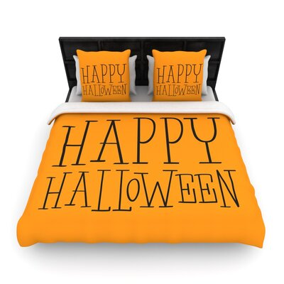 Happy Halloween Woven Duvet Cover Color: Orange, Size: Queen