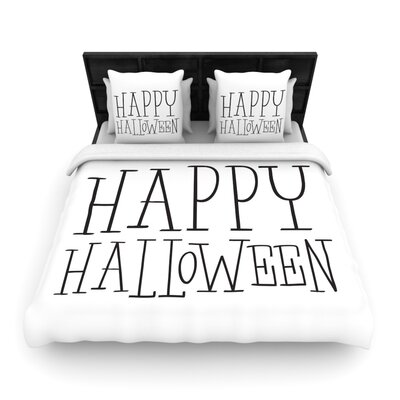 Happy Halloween Woven Duvet Cover Size: Queen, Color: White