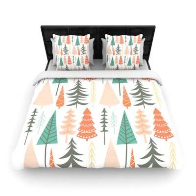Happy Forest Orange Woven Duvet Cover Size: Queen