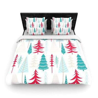 Happy Forest Red Woven Duvet Cover Size: King/California King