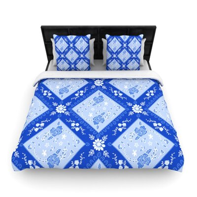 Diamonds by Anneline Sophia Featherweight Duvet Cover Size: Twin, Color: Blue, Fabric: Woven Polyester