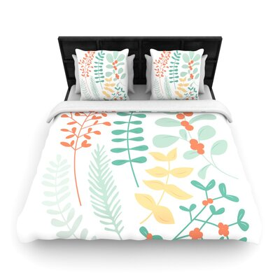 Deck the Hollies Orange Woven Duvet Cover Size: Queen