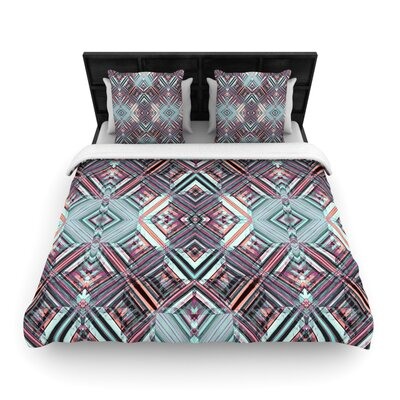 Watercolor Caledoscope by Gabriela Fuente Woven Duvet Cover Size: Queen