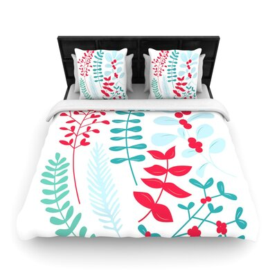 Deck the Hollies Red Woven Duvet Cover Size: Queen