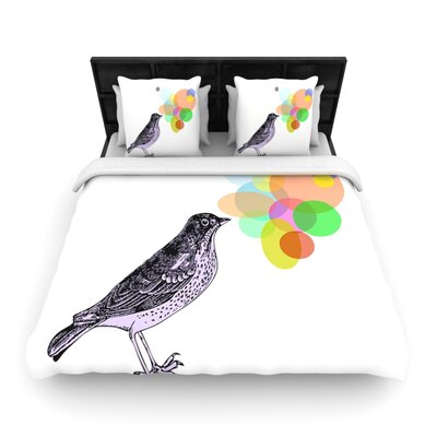 Candy Birds by Sreetama Ray Woven Duvet Cover Size: Queen