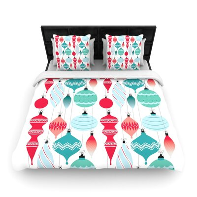 Mixed Ornaments Red Woven Duvet Cover Size: Queen
