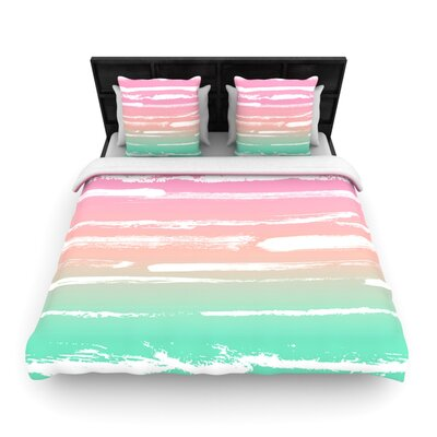 Painted Stripes Pink by Anneline Sophia Woven Duvet Cover Size: Queen