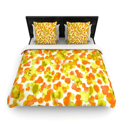 Giraffe Spots by Ebi Emporium Woven Duvet Cover Color: Orange, Size: Queen
