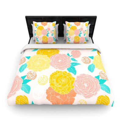 Peonies Peach by Anneline Sophia Woven Duvet Cover Size: King/California King