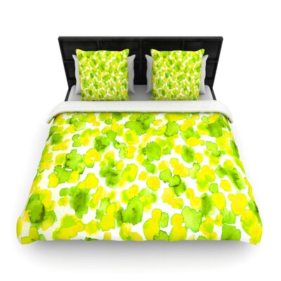 Giraffe Spots by Ebi Emporium Woven Duvet Cover Size: Queen, Color: Lemon Lime