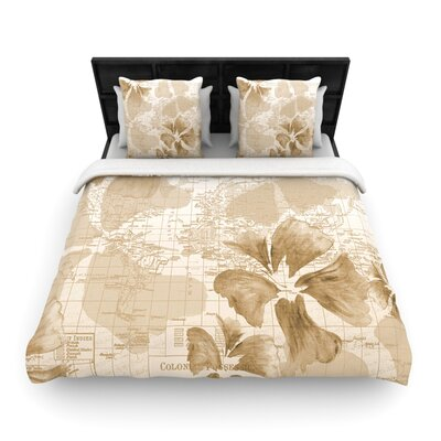 Flower Power Tan by Catherine Holcombe Woven Duvet Cover Size: Queen