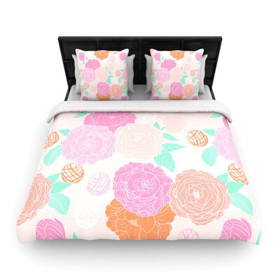 Peonies Pink by Anneline Sophia Woven Duvet Cover Size: King/California King