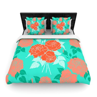 Summer Rose Orange by Anneline Sophia Woven Duvet Cover Size: King/California King