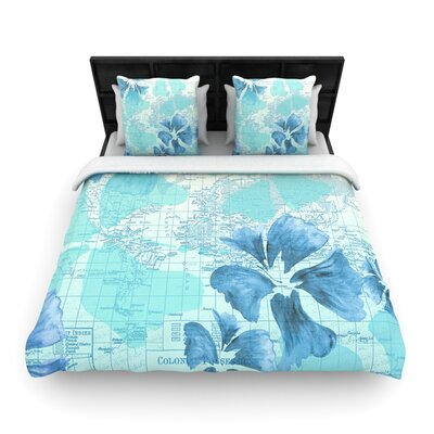Flower Power Blue by Catherine Holcombe Woven Duvet Cover Size: Queen