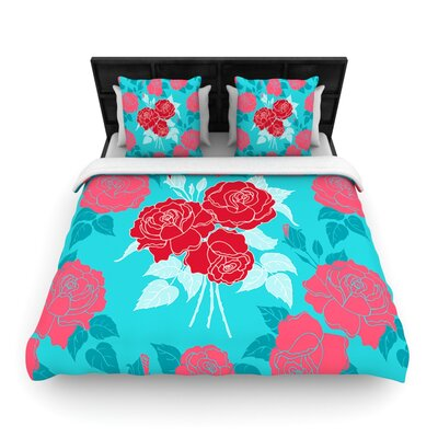 Summer Rose Red by Anneline Sophia Woven Duvet Cover Size: King/California King