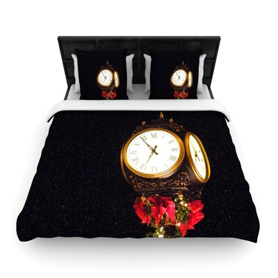 Xmas Clock by Robin Dickinson Woven Duvet Cover Size: Twin