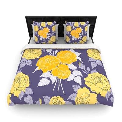 Summer Rose Yellow by Anneline Sophia Woven Duvet Cover Size: Queen