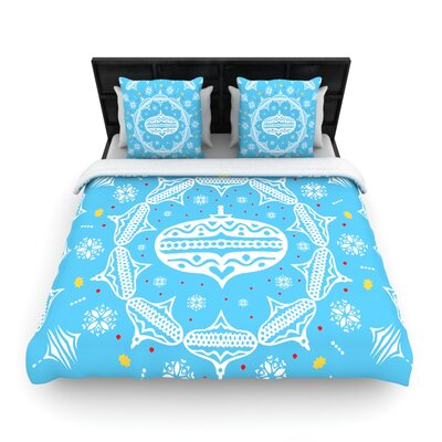 Deco Wreath Blue by Miranda Mol Woven Duvet Cover Size: Twin