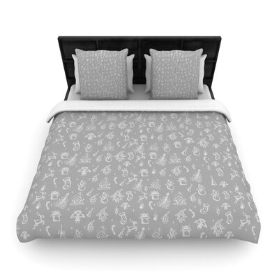 Miniature Christmas Gray by Snap Studio Woven Duvet Cover Size: Queen