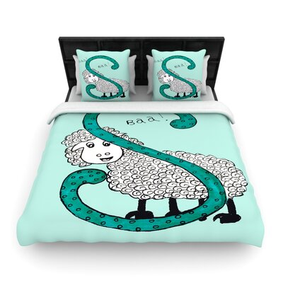 Sis for Sheep Blue by Rosie Brown Woven Duvet Cover Size: Twin