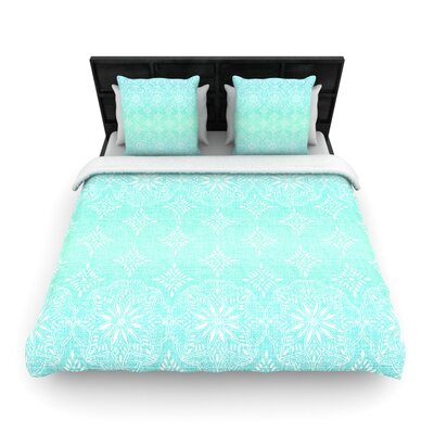 Medallion Aqua Ombre by Suzie Tremel Woven Duvet Cover Size: Queen