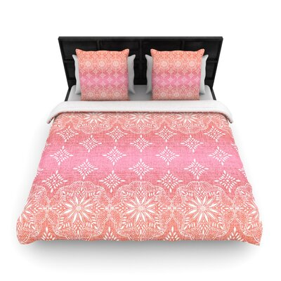 Medallion Red Ombre by Suzie Tremel Woven Duvet Cover Size: Twin